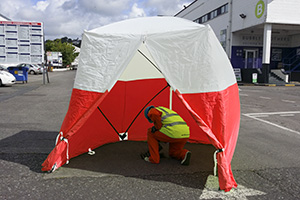 Framed work tents